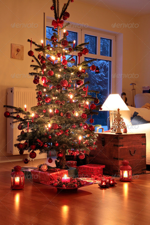 Illuminated Christmas tree - Stock Photo - Images