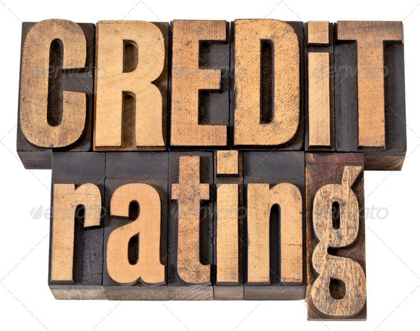 credit rating in wood type - Stock Photo - Images