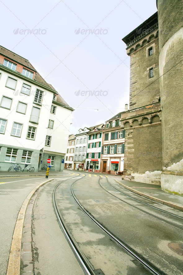 street of european town - Stock Photo - Images