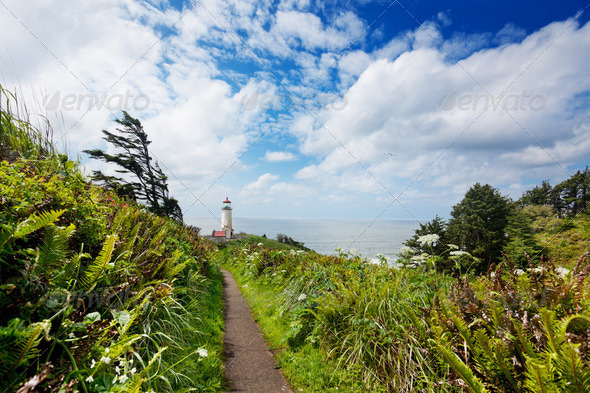 Footpath to North Head Light - Stock Photo - Images