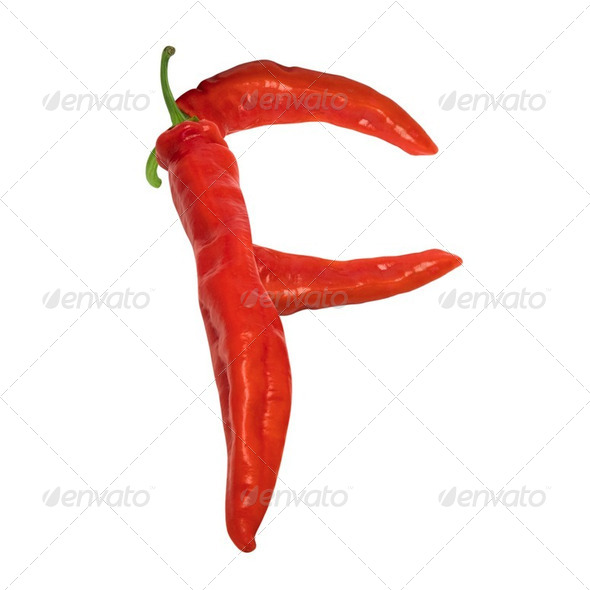 Letter F composed of red chili peppers - Stock Photo - Images