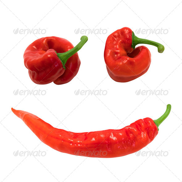 Red chili peppers in smile - Stock Photo - Images