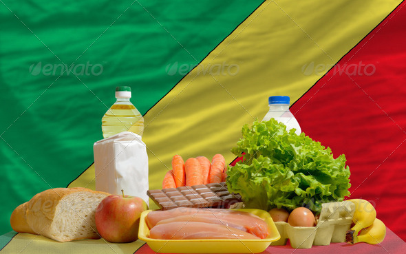 basic food groceries in front of congo national flag - Stock Photo - Images