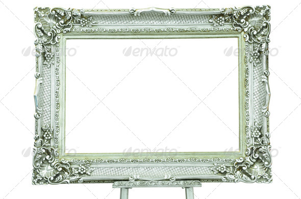 Vintage silver picture frame with metal silver easel isolated - Stock Photo - Images