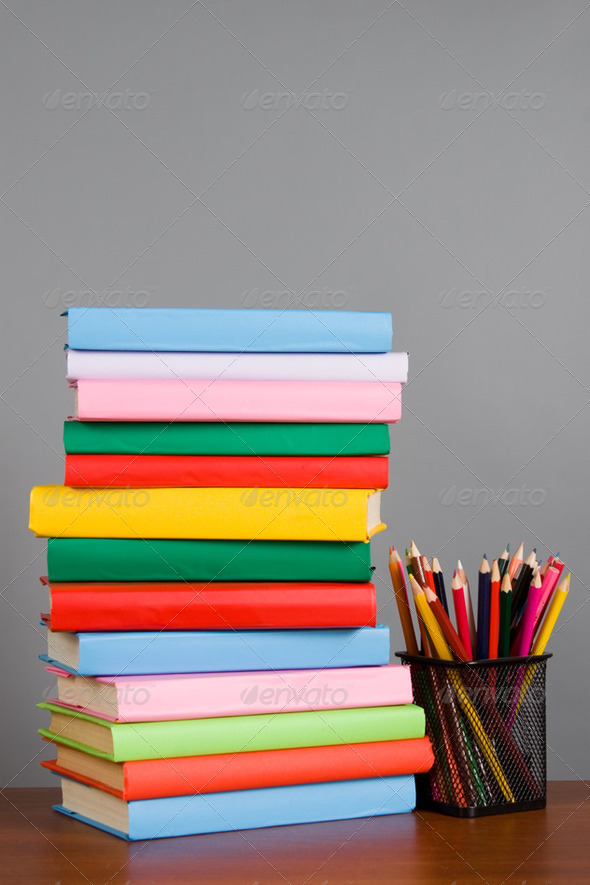 Pencils on the stack of books - Stock Photo - Images