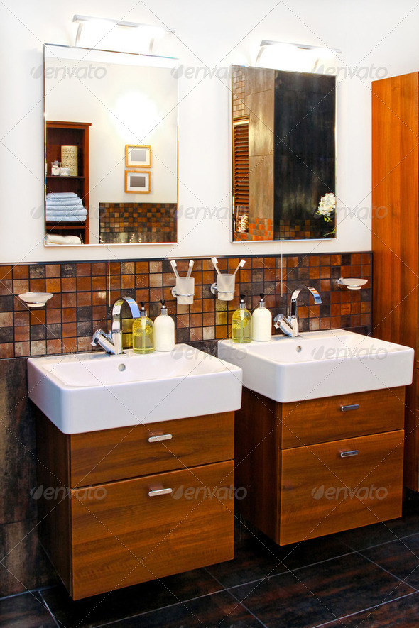 Double washbasin - Stock Photo - Images