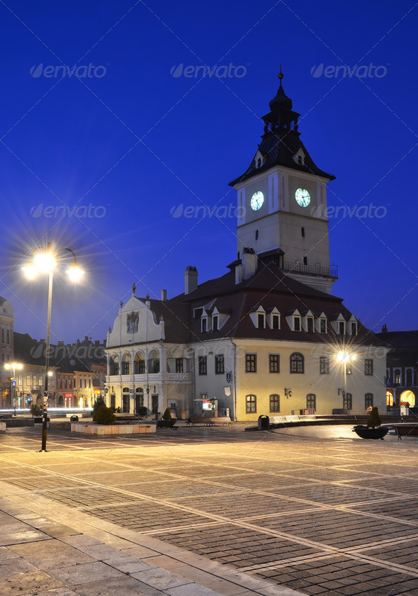 Brasov Council Square, night view in Romania - Stock Photo - Images