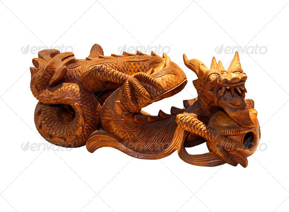 Wooden dragon - Stock Photo - Images