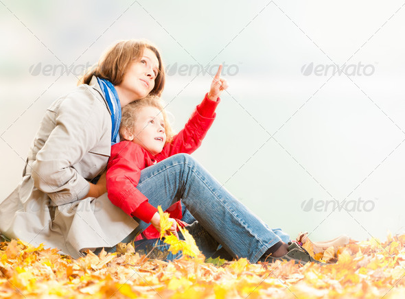 Happy young mother and small daughter. - Stock Photo - Images