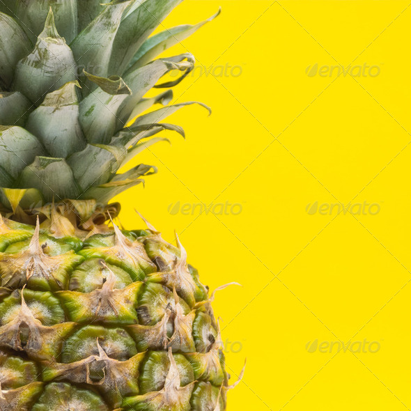 Pineappple on Yellow - Stock Photo - Images