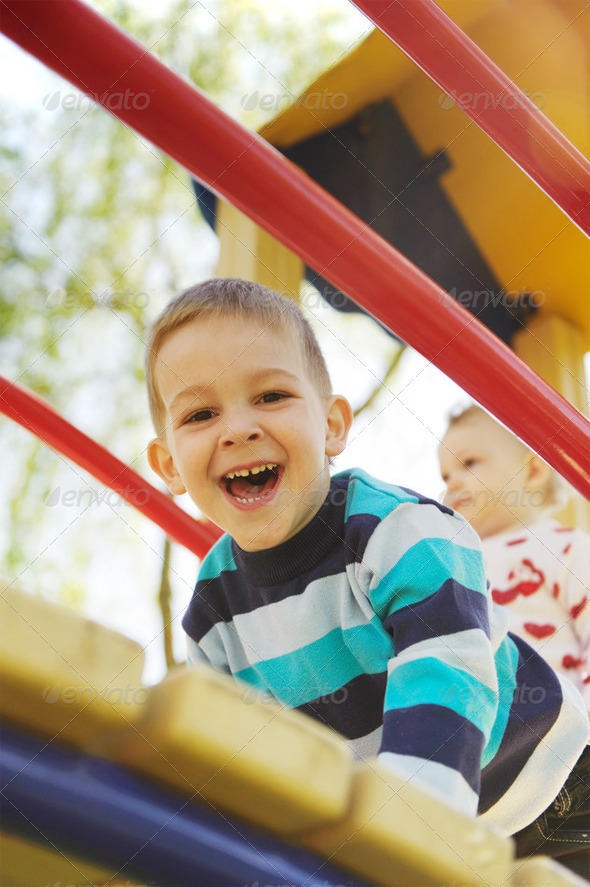 Fun on playground - Stock Photo - Images