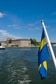 Vaxholm fortress and Swedish flag, Stockholm archipelago, Sweden - PhotoDune Item for Sale