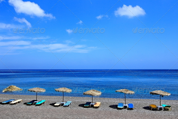 Kamari beach - Stock Photo - Images