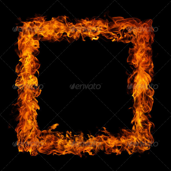 perfect fire on black background - Stock Photo - Images