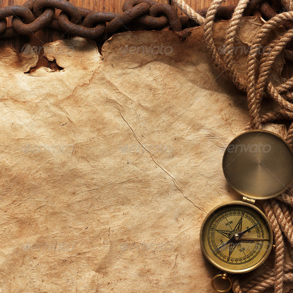 Compass, rope, paper and chain - Stock Photo - Images