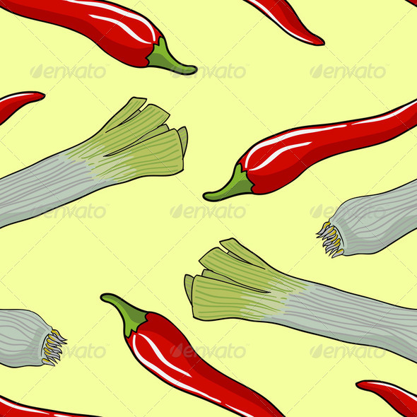 Seamless vegetable pattern leek and red pepper - Stock Photo - Images