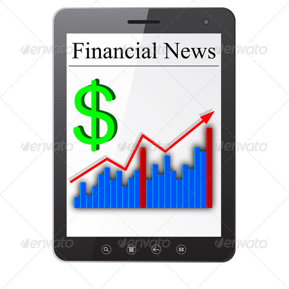 Financial News on Tablet PC. Isolated on white. Vector  illustra - Stock Photo - Images