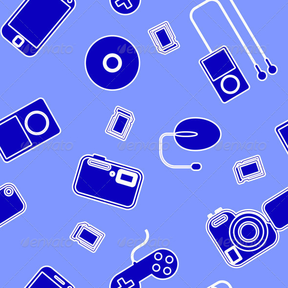 Seamless background Icon  with  electronic gadgets. - Stock Photo - Images