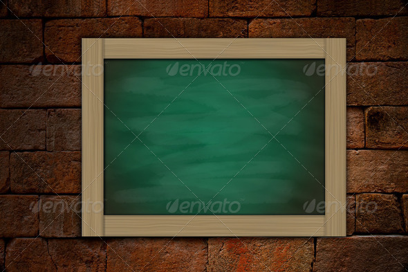 grune green chalkboard on old brick wallbackground - Stock Photo - Images