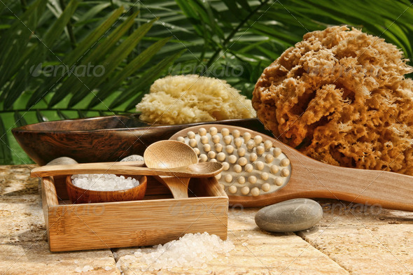 Spa still life with bath salt and brushes - Stock Photo - Images