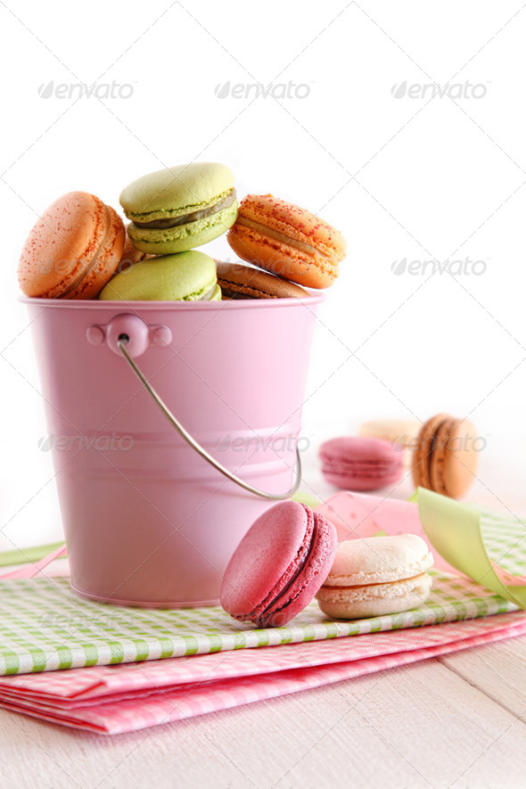 Delicious French Macaroons on table - Stock Photo - Images