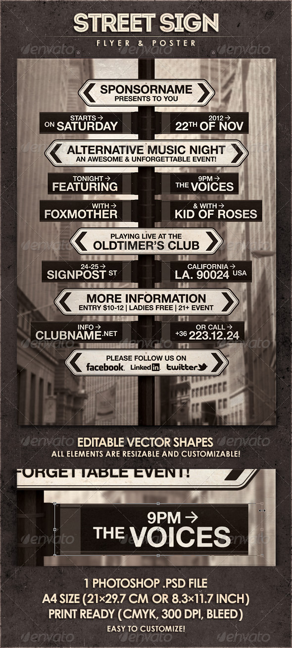 Street Sign - Flyer & Poster - Concerts Events