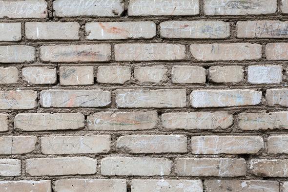Brick Wall Background Texture For Graffiti Stock Photo