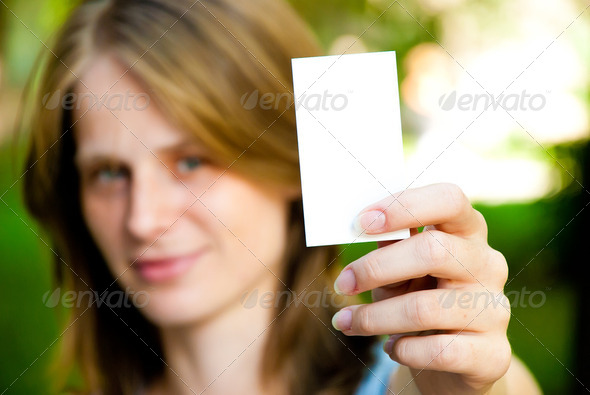 woman holding empty card - Stock Photo - Images