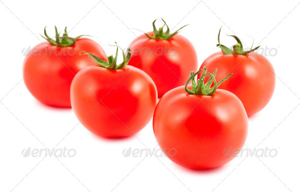 Five ripe tomatoes - Stock Photo - Images