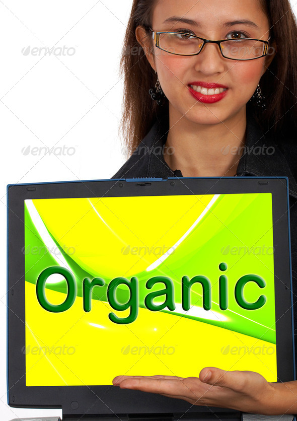 Organic Computer Message Shows Natural Online Food - Stock Photo - Images