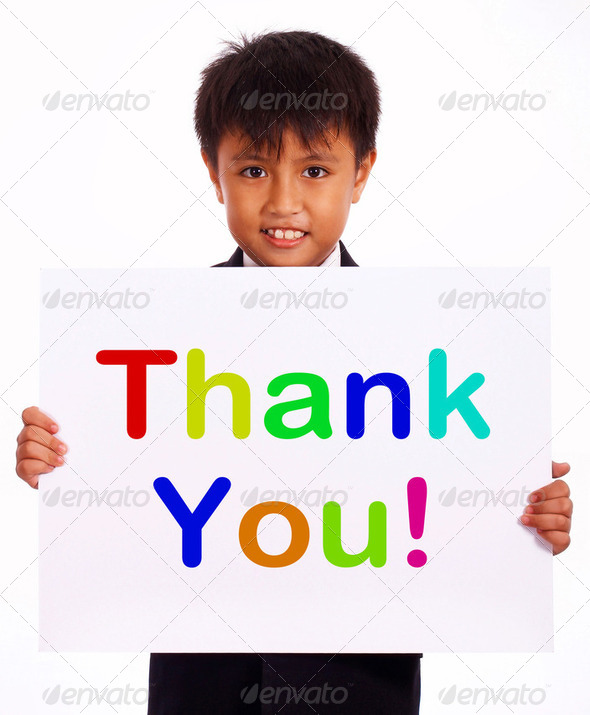 Thank You Sign As Thanks Message From Kid - Stock Photo - Images