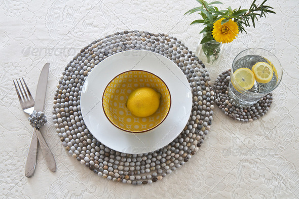 Table setting with beaded mats - Stock Photo - Images