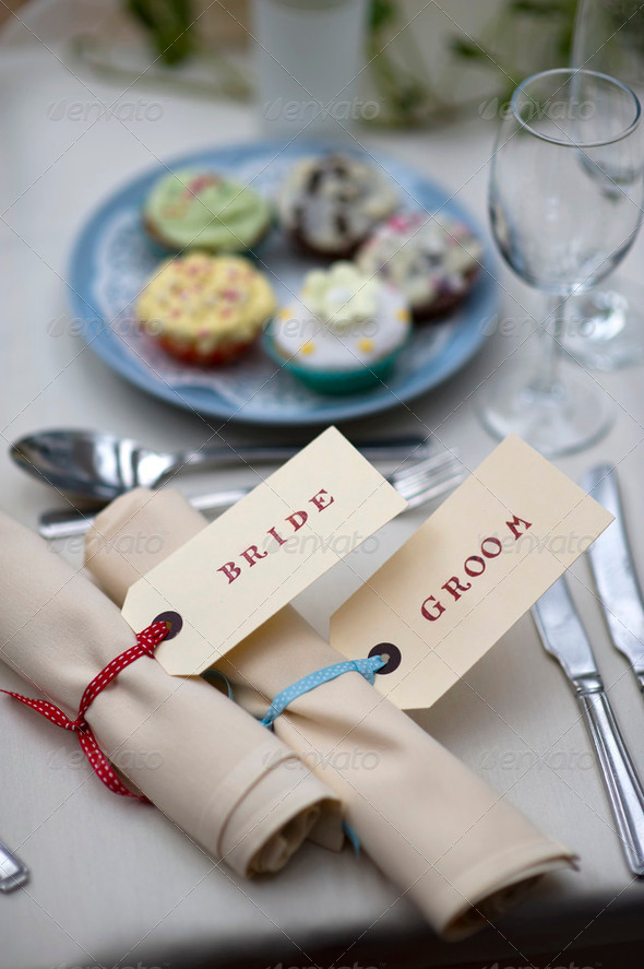 bride and groom table setting - Stock Photo - Images