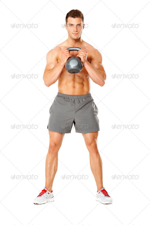 Young muscular man lifting weights on white - Stock Photo - Images