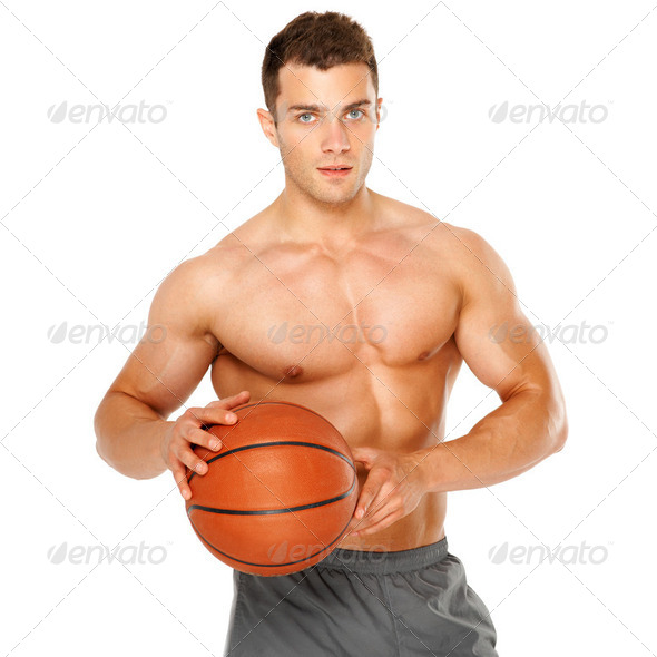 Portrait of a basketball player isolated on white - Stock Photo - Images