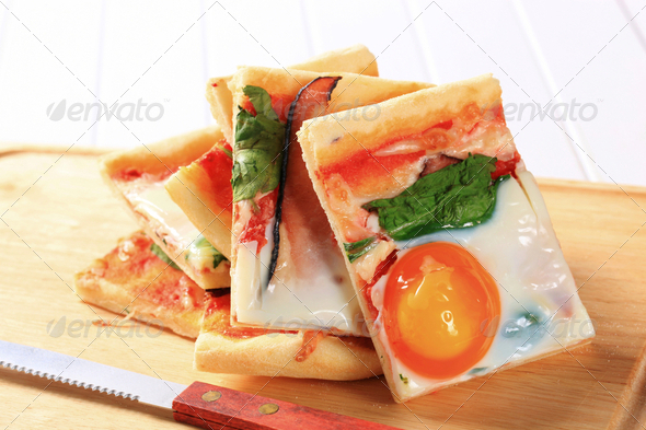 Bacon and egg pizza - Stock Photo - Images