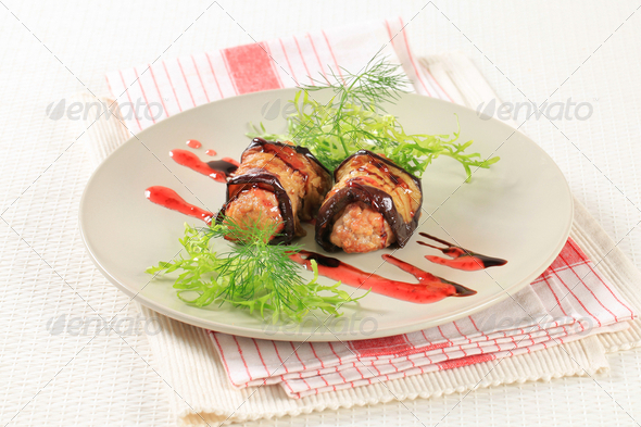 Meatballs wrapped in eggplant - Stock Photo - Images