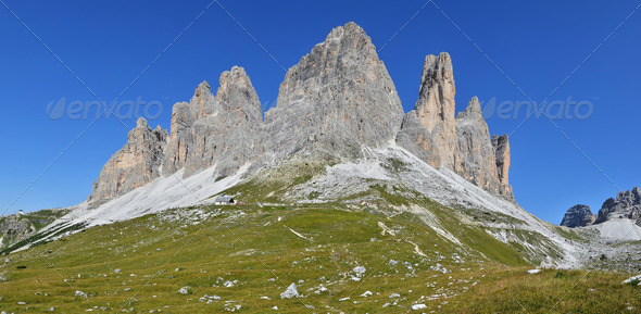 Tre Cime di Lavaredo, Dolomites Alps in Italy - Stock Photo - Images