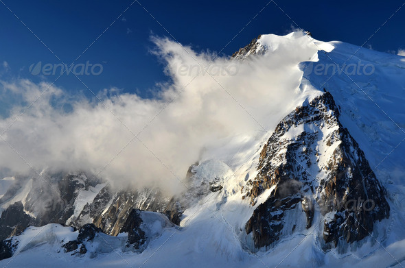 Mont Blanc du Tacul in Alps, France - Stock Photo - Images