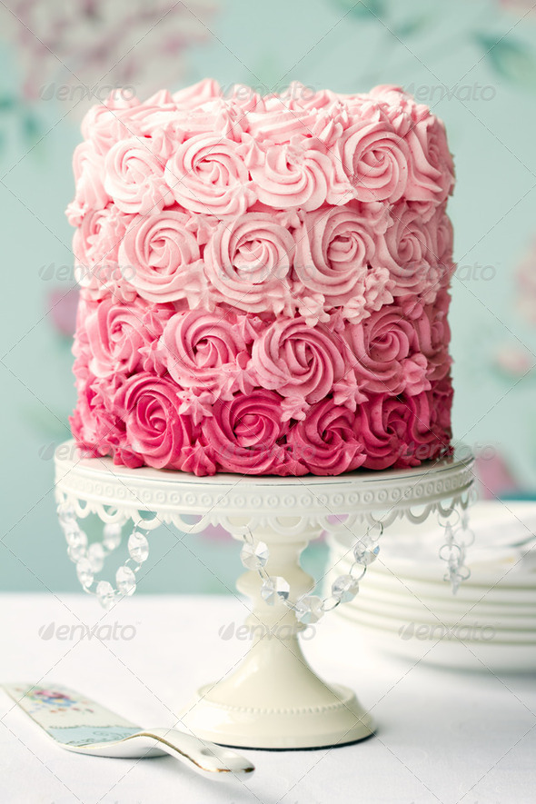 Pink ombre cake - Stock Photo - Images