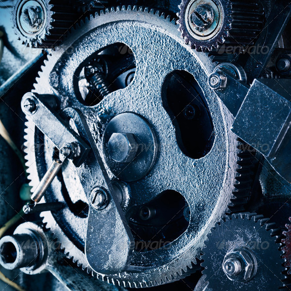 view of gears from old mechanism - Stock Photo - Images