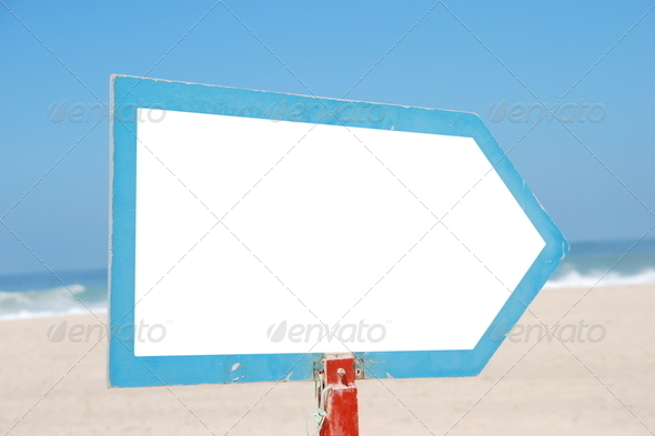 Sign at the beach - Stock Photo - Images