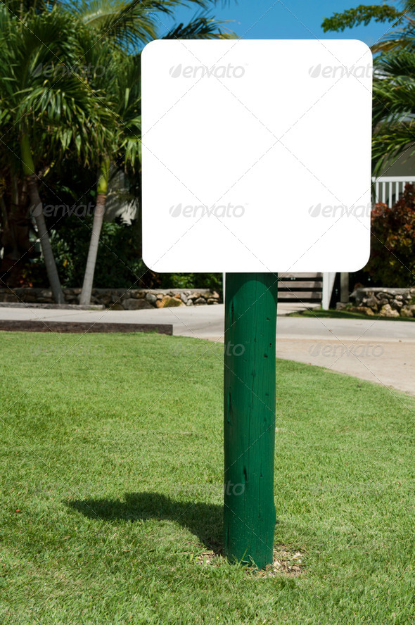 Sign at the garden - Stock Photo - Images