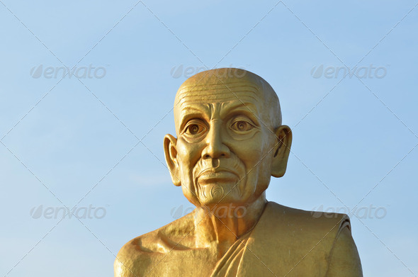 Big Golden Buddha with sky, thailand - Stock Photo - Images