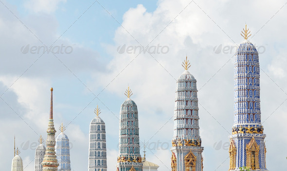 Wat Phra Kaew's Pagodas From the Grand Palace of Thailand - Stock Photo - Images