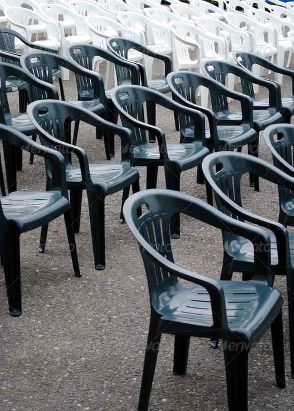 rows of plastic chair ready for a show - Stock Photo - Images