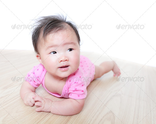 girl baby face look to empty copy space - Stock Photo - Images