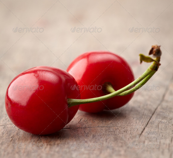 fresh red cherries - Stock Photo - Images