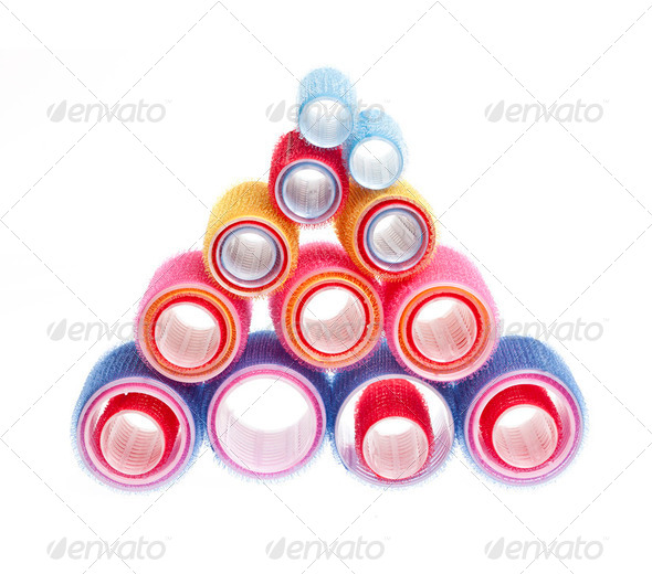 Hair rollers on white - Stock Photo - Images
