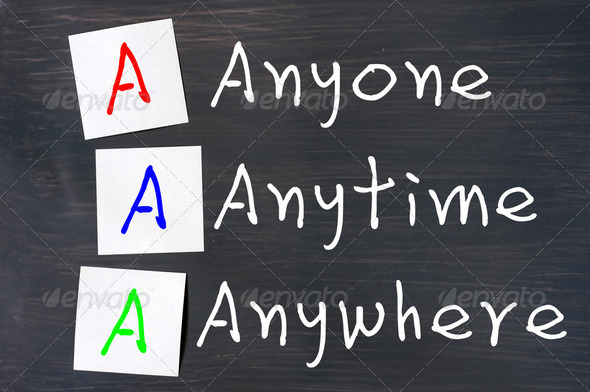 Acronym of AAA for anyone, anytime and anywhere - Stock Photo - Images